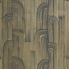 Kelly Wearstler Crescent Paper Ebony/Gold Wallpaper