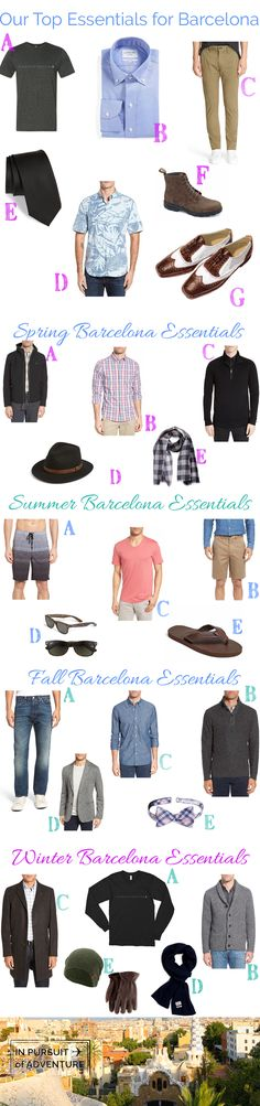 Heading to Barcelona?  These are the men's packing essentials you need no matter the season!