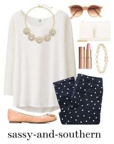 """""""I polka dots"""" by sassy-and-southern ❤ liked on Polyvore featuring mode, Dolce Giavonna, Uniqlo, Sessùn, Ray-Ban, Yves Saint Laurent, Charlotte Tilbury, The Limited, Tory Burch en fall2015"""