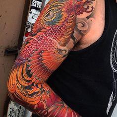 Japanese tattoo sleeve by @billcanales.  #japaneseink #japanesetattoo #irezumi #tebori #colortattoo #colorfultattoo #cooltattoo #largetattoo #armtattoo #tattoosleeve #phoenixtattoo #birdtattoo #feathertattoo #newschool #newschooltattoo #wavetattoo #naturetattoo