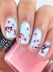 Light Blue And Cherry Blossom Nail Design