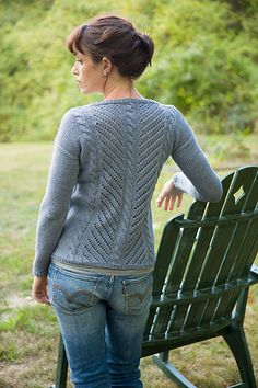 Ravelry: Diagonal Lace & Cable Pullover pattern by Tian Foley
