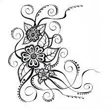 ink on paper Floral Flower Pattern Drawing, Flower Line Drawings, Art Drawings, Simple Flower Design, Simple Flowers, Flower Designs, Floral Artwork, Art Floral, Doodles Zentangles