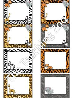 Zoo Animal Jungle Safari Themed Classroom Name Tags Labels