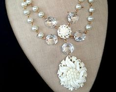 Vintage Celluloid Necklace, Wedding Necklace, Pearl Necklace - Chantilly