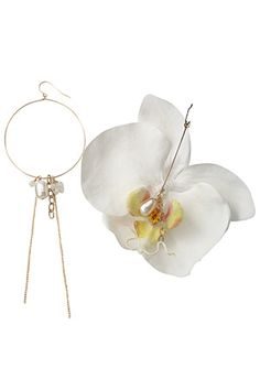 """Orchid and pearl earrings from """"RueBelle designs"""""""