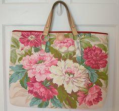 Gorgeous Barkcloth Peonies Tote Bag