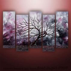 I found 'Large Abstract Modern Landscape Asian Tree Art by Gabriela 50x30 black white red' on Wish, check it out!  Love this idea for large wall art
