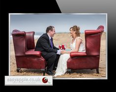 "Wedding Photography ""Chesterfields on the beach"" accompanied with champagne."