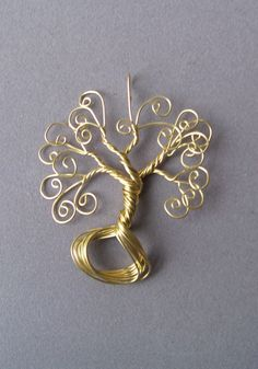 Necklace Pendant Brass Wire Wrapped Tree of Life