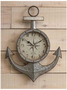 Silver Anchor Wall Clock