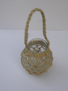 BRAND NEW JUTE ROPE NETTED GLASS JAR NICE CANDLE HOLDER WITH A STURDY ROPE HANDLE Best Candles, Of Brand, Glass Jars, Handicraft, Jute, Nautical, Candle Holders, Handle, Craft