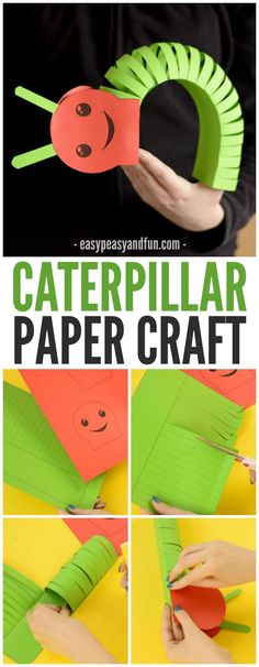 3D Paper Caterpillar Craft! A great process craft for kids during a bug unit! Good pairing with The Hungry Caterpillar Book with preschool and kindergarten classes.