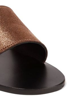 K Jacques St Tropez - Sevan Metallic Textured-leather Slides - Bronze - IT