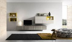 salon minimalista con mueble de tv gris