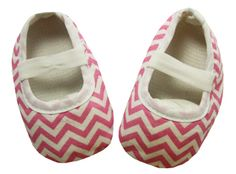 Light Pink Chevron Print Crib Shoes