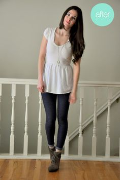 alter a too-short shirt - great as a maternity refashion