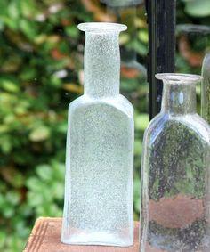 Vintage Glass Bottle Rect - Med - Antique Clear