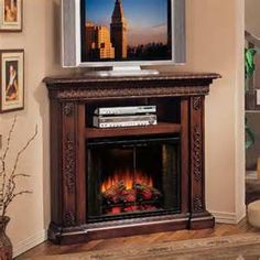 TV over fireplace. Great idea for a cozy room, like a bedroom.