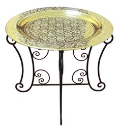 Handcrafted Moroccan Wrought Iron Side oriental table tea Ø 60 CM Moroccan Table, Moroccan Decor, Coffee And End Tables, Tea Tables, Side Tables, Foldable Coffee Table, Side Table Decor, Tea Tray, Arabesque