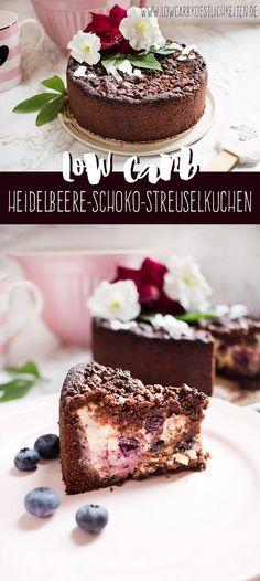 Köstlicher Heidelbeere-Schoko-Streuselkuchen, Low Carb & glutenfrei www.lowcarbkoestlichkeiten.de