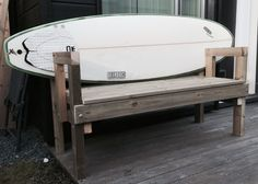 DIY surfboard bench. No screws or nails in the board.