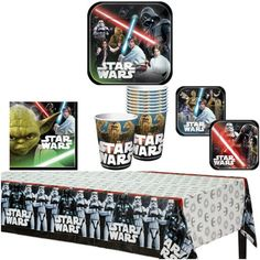 Amazon.com: Star Wars Birthday Party Supplies Pack for 8 Guests - 8 lunch plates, 8 dessert plates (4 of each design), 16 lunch napkins, 8 cups, and a table cover: Toys & Games