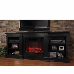 Get a media center, a storage unit, and a fireplace all in one with the Real Flame Fresno Indoor Gel Fireplace/Entertainment Center.