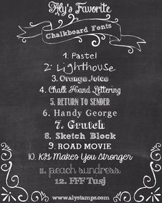 3/27 Blog Hop - Aly's Favorite Chalkboard Fonts, all are FREE!