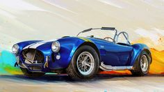 Here are another high detailed digital paintings I've done in Corel Painter.This time it's a muscle cars, developed in and 1967 Shelby Cobra, 427 Cobra, Garage Art, Car Posters, Futuristic Cars, Automotive Art, Car Painting, Retro Cars, Concept Cars