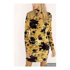 Random Floral Print Suede High Neck Long Sleeves Curved Hem Mini Dress (26 BAM) via Polyvore featuring dresses, mini dress, long sleeve dress, long sleeve short dress, high neck short dresses i high neck dress