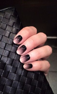 Mysterious and classy black to white gradient nail art.: