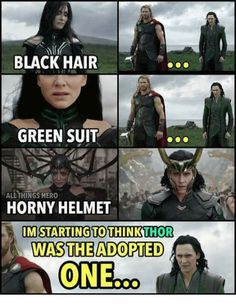 Hela, Black of hair. Loki, Black of hair. Thor, gold of hair. CSI: Asgard<<<<<<<< ugh ppl should know that Thor is NOT Loki's brother! Odin is Loki's brothers! Loki Meme, Avengers Humor, Marvel Jokes, The Avengers, Films Marvel, Funny Marvel Memes, Marvel Dc Comics, Marvel Heroes, Marvel Cinematic