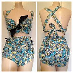 2 pc rockabilly pinup style 40's 50's play suit romper Sz L / XL on Etsy, $95.00