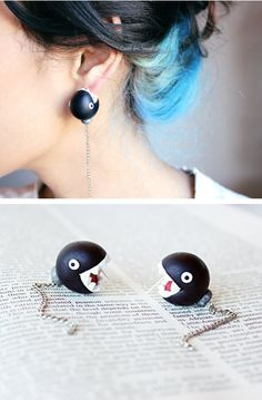 Funny pictures about Chain Chomp earrings. Oh, and cool pics about Chain Chomp earrings. Also, Chain Chomp earrings photos. Cute Jewelry, Diy Jewelry, Jewelery, Jewelry Accessories, Nerd Jewelry, Jewelry Ideas, Chain Chomp, Do It Yourself Fashion, Polymer Clay Charms