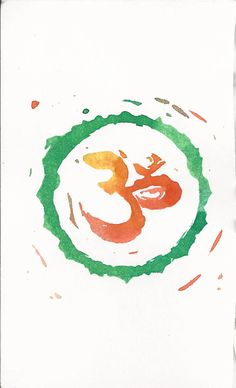 Love the colors on this art print. Om Monoprint by AzulBlueDragon. Meditation and sprituality. <3