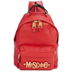 Womens Backpacks Moschino Red Logo Leather Backpack (£616) ❤ liked on Polyvore featuring bags, backpacks, buckle backpack, logo backpacks, leather zipper backpack, genuine leather backpack y red leather bag