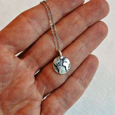 Earth necklace, silver vintage charm pendant world planet map globe simple everyday jewelry minimal tiny travel adventure graduation gift