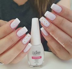 New manicure francesa elegante ideas French Manicure Acrylic Nails, French Nails, Nail Manicure, Gorgeous Nails, Pretty Nails, Unicorn Nail Art, Luv Nails, Glitter Nail Art, Holiday Nails
