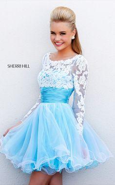Short Sherri Hill 21234 Blue Ivory Sheer Lace Prom DressOutlet