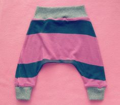Newborn Harem knit pants refashioned from tshirt with link to free pattern and tutorial