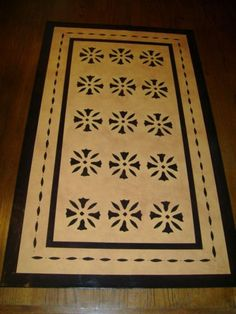 Timeless Floorcloths - Floorcloth Gallery - Ebenezer Waters House - Colors Yellow Ochre and Black.