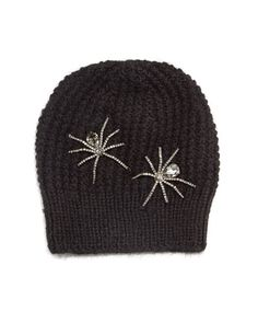 D110S Jennifer Behr Double Crystal Spider Knit Beanie Hat