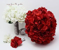 Red White Grey Silk Hydrangea Bridal & Bridesmaid Bouquet Groom's Best Man Boutonniere Wedding Flower Package - Customize for your Colors