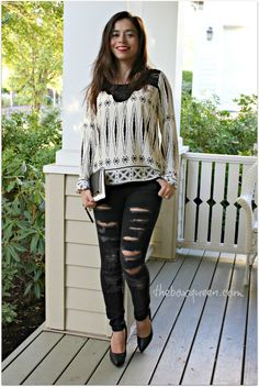 Golden Tote October Review, How to Wear Ripped Jeans, Fall Outfit Idea