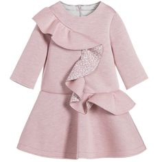 Rose Pink Logo Ruffle Neoprene Dress, Fendi, Girl