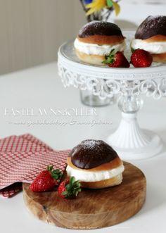 English Cream Puffs (Fastelavnsboller) - Top with chocolate and vanilla cream ...