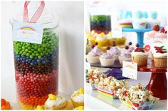 Taste the Rainbow colorful birthday party - love the Rainbow white chocolate popcorn, the cottoncandy cupcakes and the row of cupcakes with candy slices