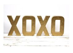 As Seen In BETTER HOMES and GARDENS Magazine - Metallic Gold Letters  xoxo 8 inches tall on Etsy, $40.94 CAD