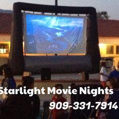 We rent outdoor inflatable movie screens. Great for schools movie night. Family fun night. 909-331-7914 Www.StarlightMovienights.com Www.facebook.com/StarlightMovieNights